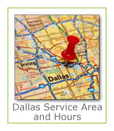 Dallas and Irving service area